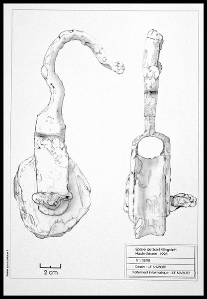 Vue du dessin d'une poulie et de son crochet (fouille E. Rieth).