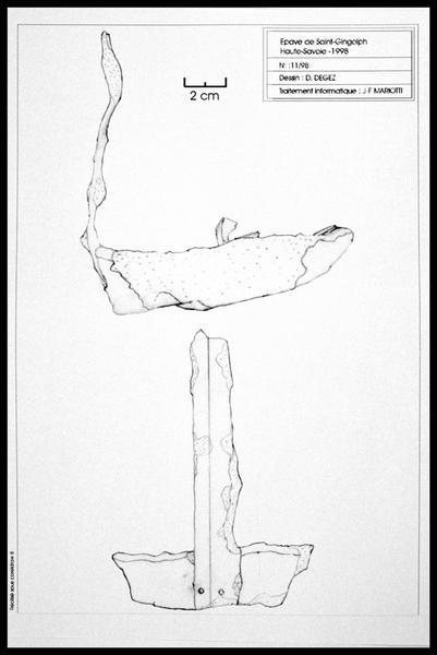 Vue du dessin d'une lampe à huile en métal (fouille E. Rieth).