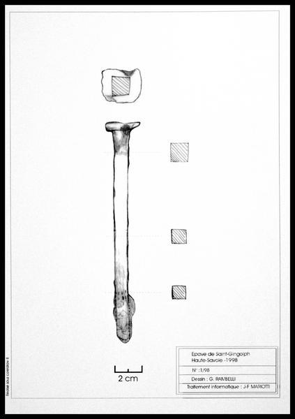 Vue du dessin d'une broche de métal (fouille E. Rieth).