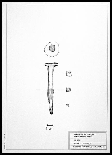 Vue du dessin d'une clou de métal (fouille E. Rieth).