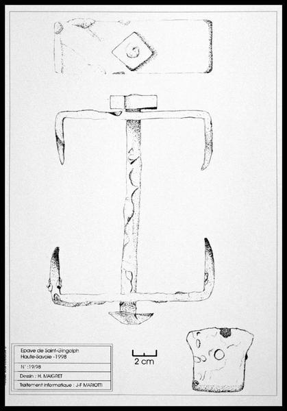 Vue du dessin d'un crochet de métal (fouille E. Rieth).