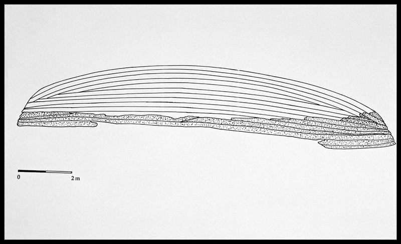Vue du dessin des virures de bordé conservées (grisé) (fouille E. Rieth).