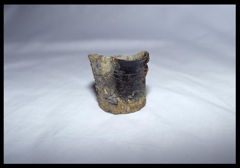 Vue d'un gobelet métallique orné de rinceaux (fouille D. David).