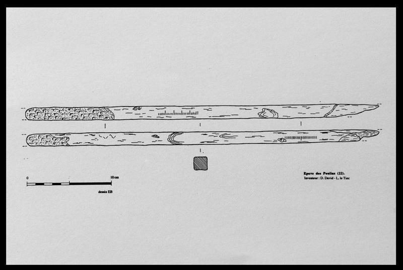 Vue du dessin d'une règle graduée de bois (fouille D. David).
