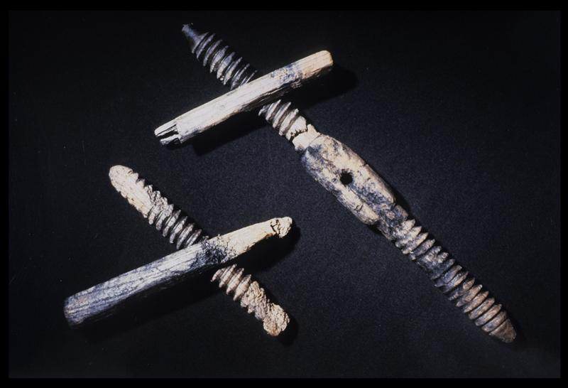 Vue de deux vrilles de bois (fouille M. L'Hour/Drassm, E. Veyrat/Drassm).