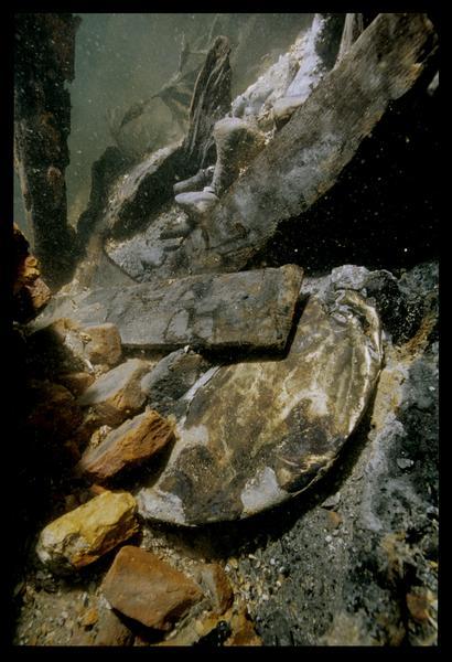 Vue sous-marine d'un élément métallique in situ (fouille M. L'Hour/Drassm, E. Veyrat/Drassm).