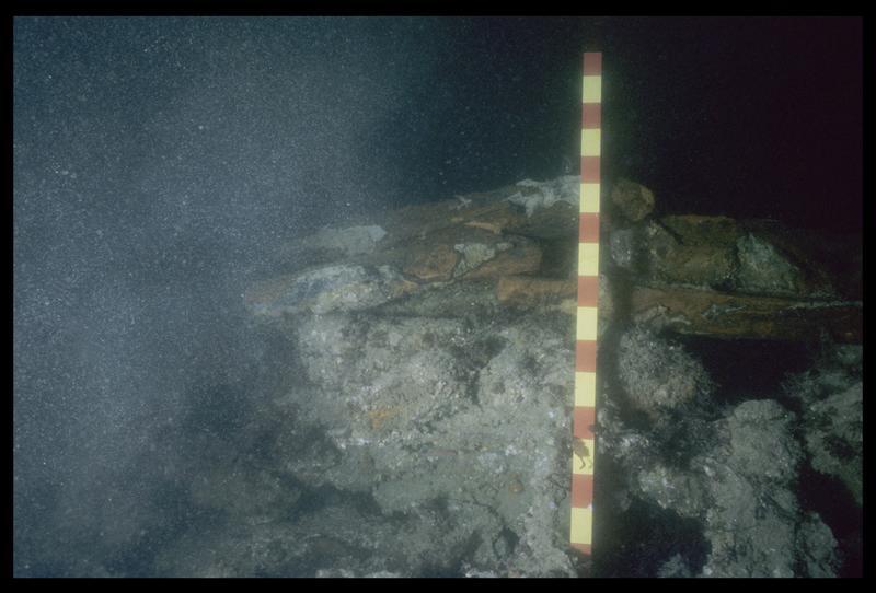 Vue sous-marine des lingots de fonte de fer in situ (fouille M. L'Hour/Drassm, E. Veyrat/Drassm).