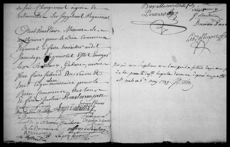 Vue du registre manuscrit du naufrage d'Aimable Grenat avec les signatures daté de 1749 (fouille M. L'Hour/Drassm, E. Veyrat/Drassm).