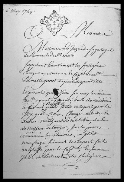 Vue de la première page du registre manuscrit du naufrage d'Aimable Grenat daté de 1749 (fouille M. L'Hour/Drassm, E. Veyrat/Drassm).