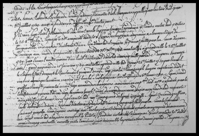 Vue d'un extrait de manuscrit relatif au sauvetage daté de 1749 (fouille M. L'Hour/Drassm, E. Veyrat/Drassm).