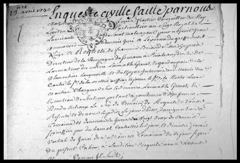 Vue d'un extrait du manuscrit d'enquête de naufrage daté de 1750 (fouille M. L'Hour/Drassm, E. Veyrat/Drassm).