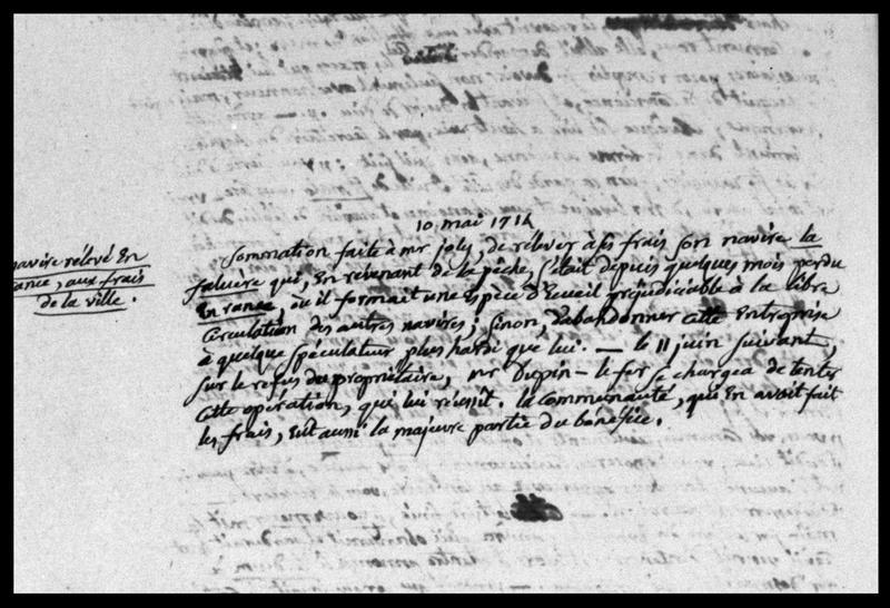 Vue d'un extrait manuscrit décrivant une anecdote datée de 1714 (fouille M. L'Hour/Drassm, E. Veyrat/Drassm).