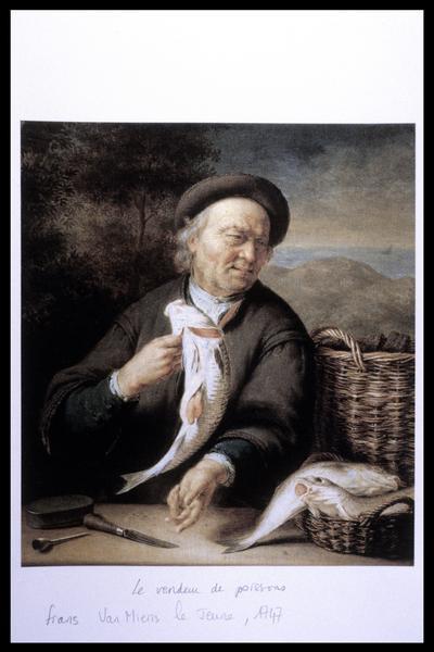 Vue du tableau Le vendeur de poissons de F. Van Mieris le Jeune (1747) (fouille M. L'Hour/Drassm, E. Veyrat/Drassm).