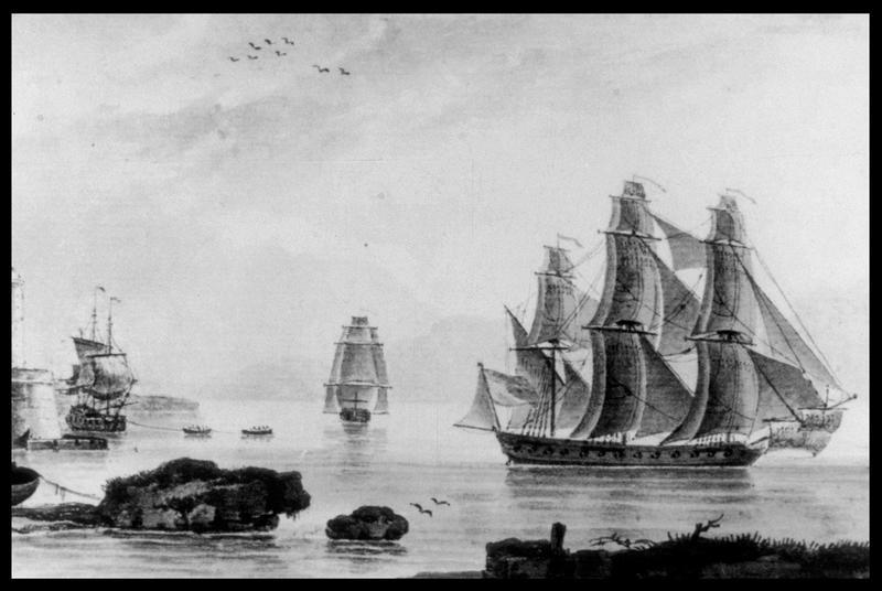 Vue d'une peinture ou gravure d'une frégate de 30 canons (fouille M. L'Hour/Drassm, E. Veyrat/Drassm).