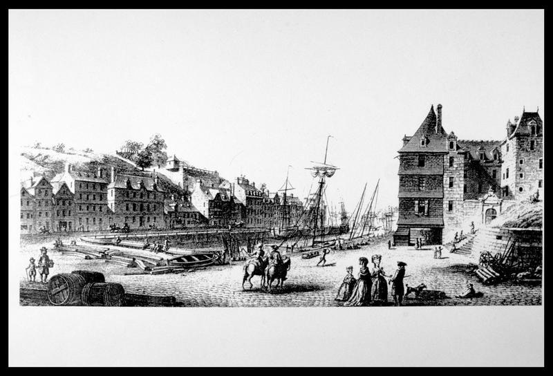 Vue d'une gravure du port de Morlaix de Nicolas Ozanne (fouille M. L'Hour/Drassm, E. Veyrat/Drassm).