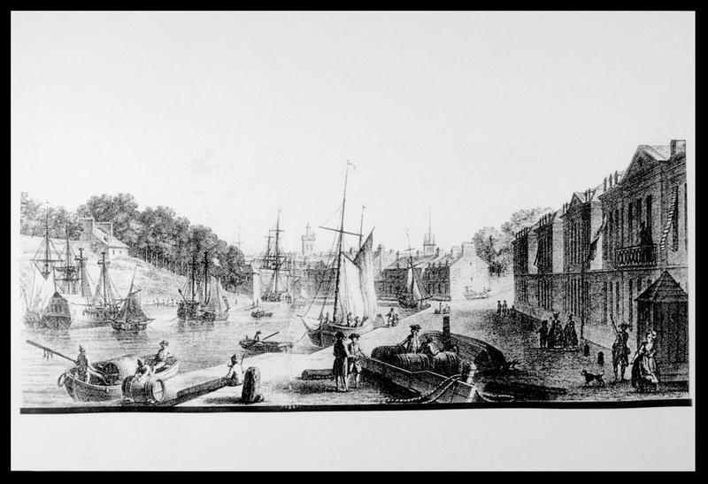 Vue de la gravure de la Manufacture des Tabacs de Nicolas Ozanne (fouille M. L'Hour/Drassm, E. Veyrat/Drassm).