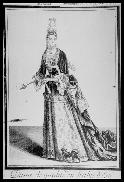 Vue du dessin de l'Habit d'une dame en tenue d'été de N. Bonnart (fouille M. L'Hour/Drassm, E. Veyrat/Drassm).