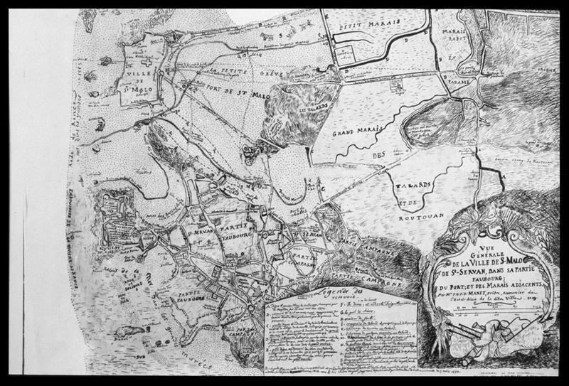 Vue d'une carte ancienne de Saint Malo (fouille M. L'Hour/Drassm, E. Veyrat/Drassm).