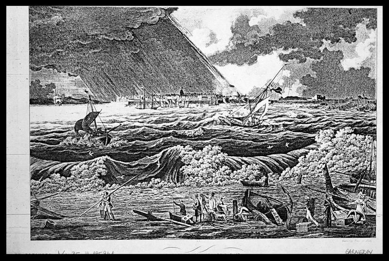 Vue d'une gravure de Saint Malo par Garneray (fouille M. L'Hour/Drassm, E. Veyrat/Drassm).