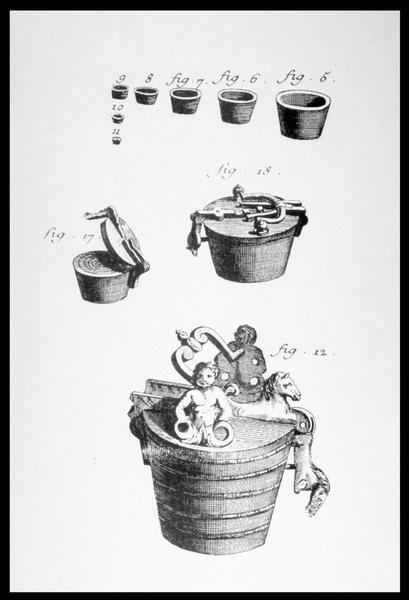 Vue d'une planche de dessin des différents types de seau issue de l'Encyclopédie Diderot (fouille M. L'Hour/Drassm, E. Veyrat/Drassm).