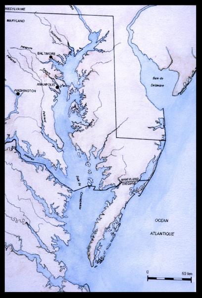 Vue d'une carte de la baie de Chesapeake (fouille M. L'Hour/Drassm, E. Veyrat/Drassm).