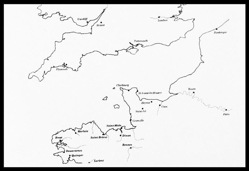 Vue d'un fond de carte de la Bretagne et de l'Angleterre (fouille M. L'Hour/Drassm, E. Veyrat/Drassm).