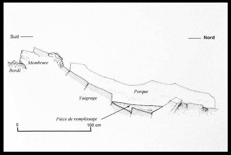 Vue du dessin du profil de la carène au niveau du porque (fouille M. L'Hour/Drassm, E. Veyrat/Drassm).