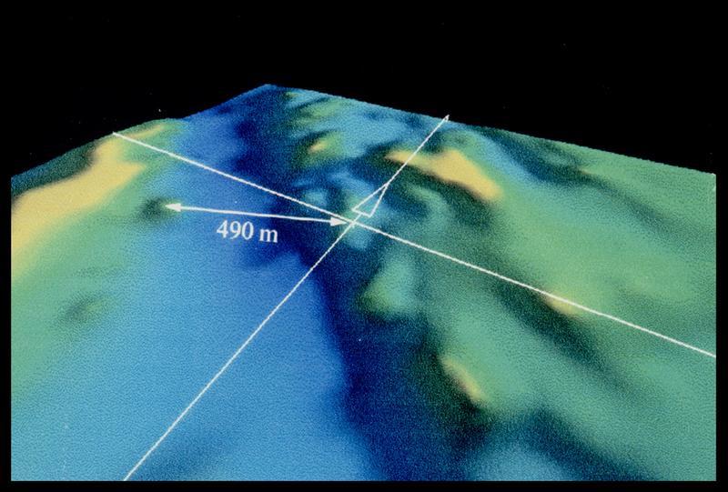 Vue des calculs des distances sur informatique (fouille M. L'Hour/Drassm, E. Veyrat/Drassm).