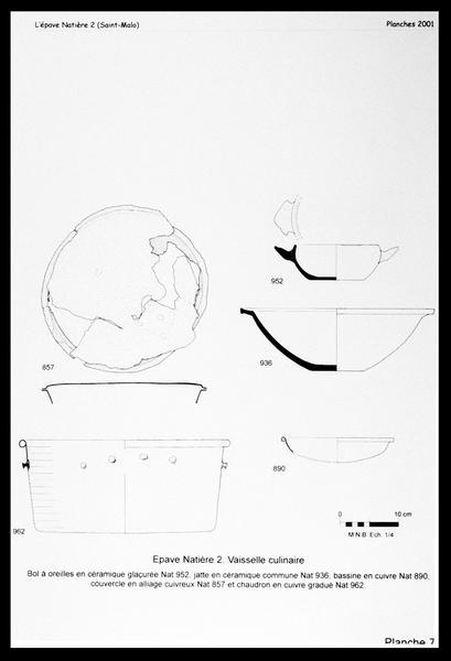 Vue du dessin des éléments de cuisine en céramique (bol, jatte) et en cuivre (bassine et chaudron) (fouille M. L'Hour/Drassm, E. Veyrat/Drassm).
