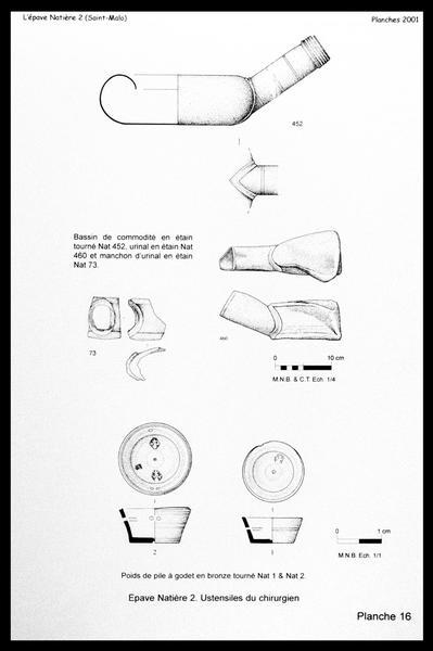 Vue du dessin des éléments en étain et bronze du médecin (urinal, godet) (fouille M. L'Hour/Drassm, E. Veyrat/Drassm).