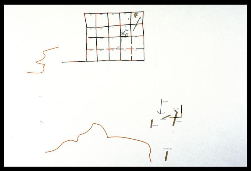 Vue de l'implantation du carroyage (fouille M. L'Hour/Drassm, E. Veyrat/Drassm).