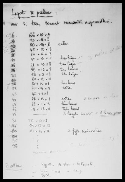 Vue d'une page du journal de fouille avec la liste des lingots à remonter (fouille M. L'Hour/Drassm, E. Veyrat/Drassm).