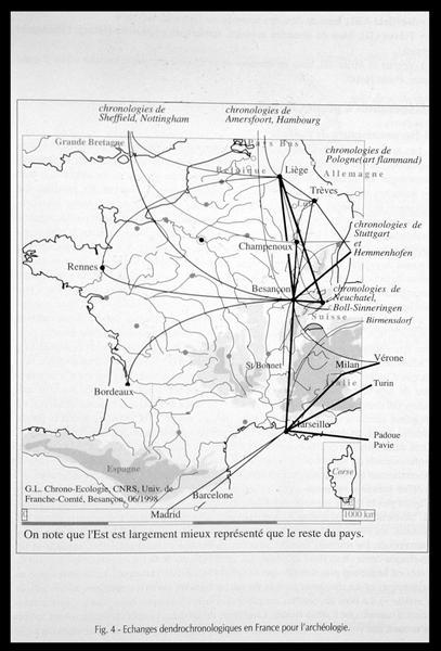 Vue de la carte des échanges dendrologiques (fouille M. L'Hour/Drassm, E. Veyrat/Drassm).