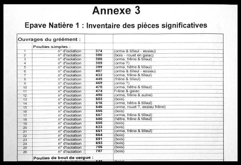 Vue du tableau d'inventaire des poulies et leur identification dendrologique (fouille M. L'Hour/Drassm, E. Veyrat/Drassm).