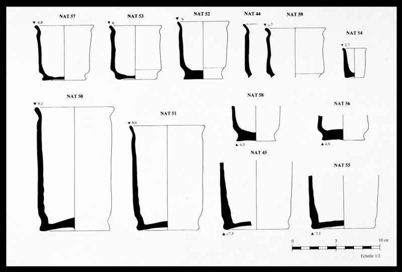 Vue du dessin des différents pots à onguent de faïence découverts (fouille M. L'Hour/Drassm, E. Veyrat/Drassm).