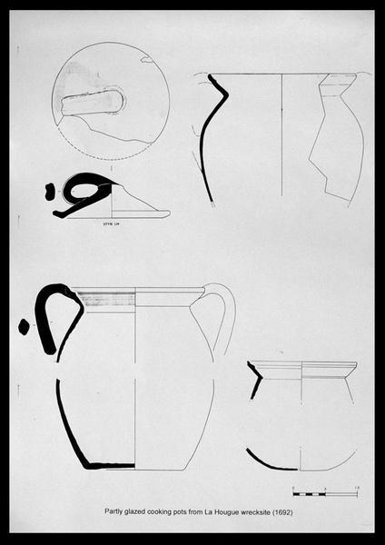 Vue du dessin des marmites découvertes sur l'épave de Saint Vaast la Hougue (fouille M. L'Hour/Drassm, E. Veyrat/Drassm).
