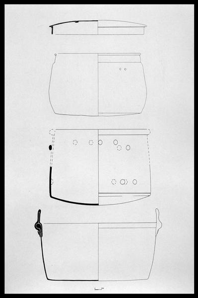 Vue du dessin de quatre pièces de vaisselle de métal (fouille M. L'Hour/Drassm, E. Veyrat/Drassm).
