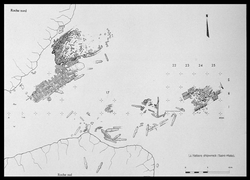Vue du plan général des carènes (fouille M. L'Hour/Drassm, E. Veyrat/Drassm).