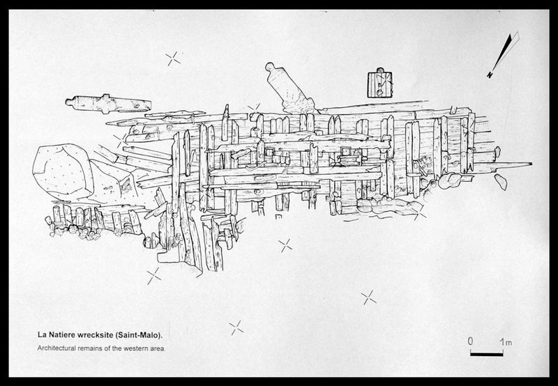 Vue du plan de la carène de la Natière 2 (fouille M. L'Hour/Drassm, E. Veyrat/Drassm).