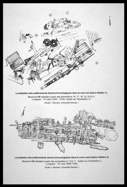 Vue de la localisation des prélèvements dendrochronologiques sur le plan des carènes (fouille M. L'Hour/Drassm, E. Veyrat/Drassm).