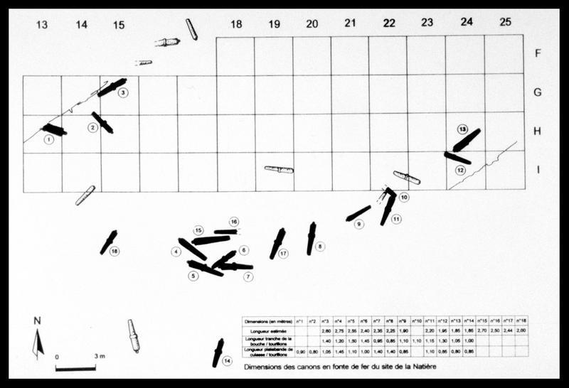 Vue de la localisation et identification des canons sur le plan général (fouille M. L'Hour/Drassm, E. Veyrat/Drassm).