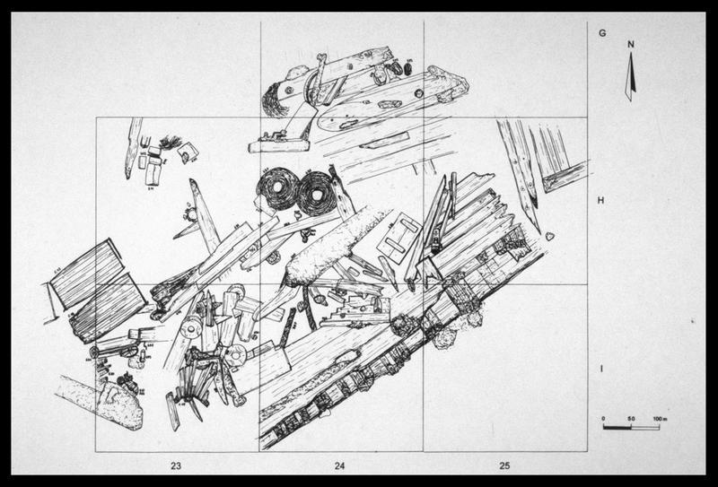Vue de détail du plan de la carène (fouille M. L'Hour/Drassm, E. Veyrat/Drassm).