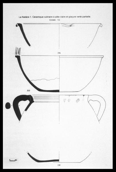Vue du dessin d'une jatte, d'un saladier et d'une marmite de céramique à glaçure verte (fouille M. L'Hour/Drassm, E. Veyrat/Drassm).