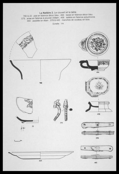 Vue du dessin d'éléments faïences ornées (plat, tasse, plat rectangulaire), d'une assiette d'étain et de deux manches de couteau en bois (fouille M. L'Hour/Drassm, E. Veyrat/Drassm).