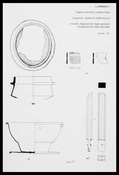 Vue du dessin d'éléments de métal non identifiés (fouille M. L'Hour/Drassm, E. Veyrat/Drassm).