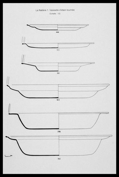 Vue du dessin de six plats et assiettes d'étain (fouille M. L'Hour/Drassm, E. Veyrat/Drassm).