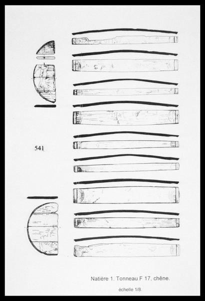 Vue du dessin des pièces d'une futaille de bois (fouille M. L'Hour/Drassm, E. Veyrat/Drassm).