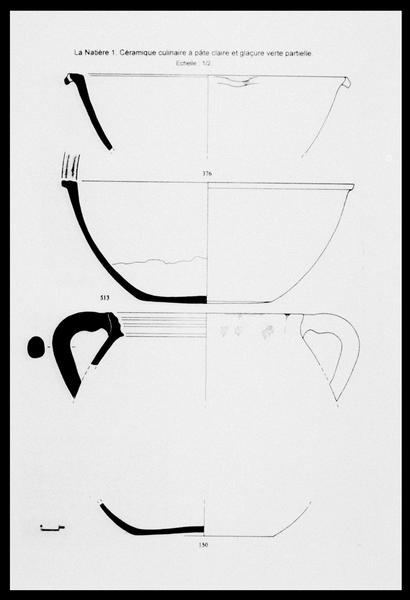 Vue du dessin de trois éléments de céramique à glaçure verte (fouille M. L'Hour/Drassm, E. Veyrat/Drassm).