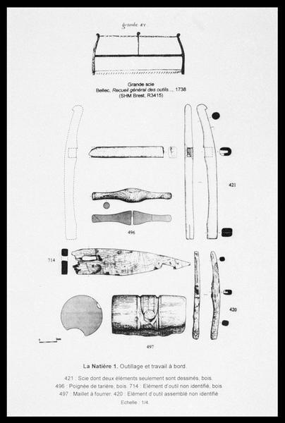 Vue du dessin des outils de bois (maillet, scie, tarrière) (fouille M. L'Hour/Drassm, E. Veyrat/Drassm).