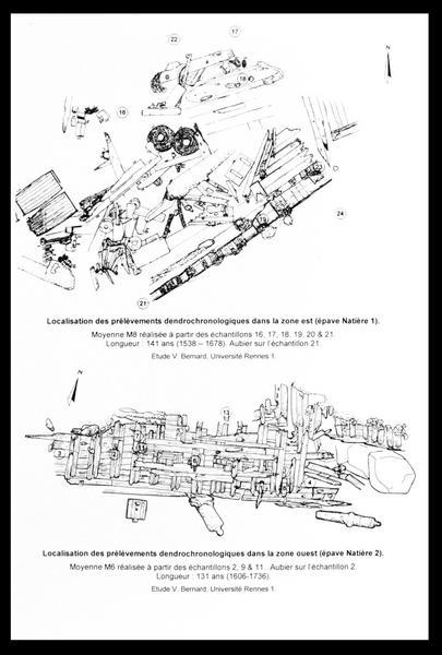 Vue de la localisation des prélèvements dendrochronologique sur le plan des carènes (fouille M. L'Hour/Drassm, E. Veyrat/Drassm).